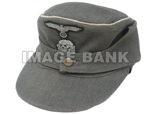 Ww2 German Police M43 Hat Badge: W2Gh173d- Waffen SS Officers M43 Field Cap -Late War Style